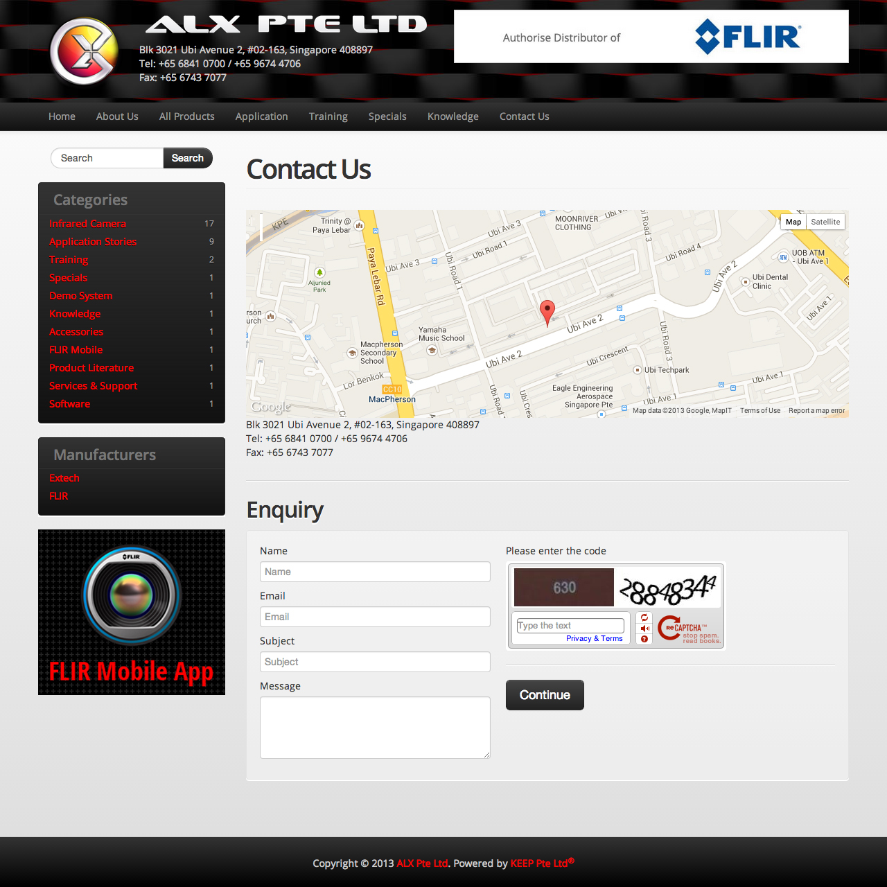 ALX Pte Ltd website contact us page