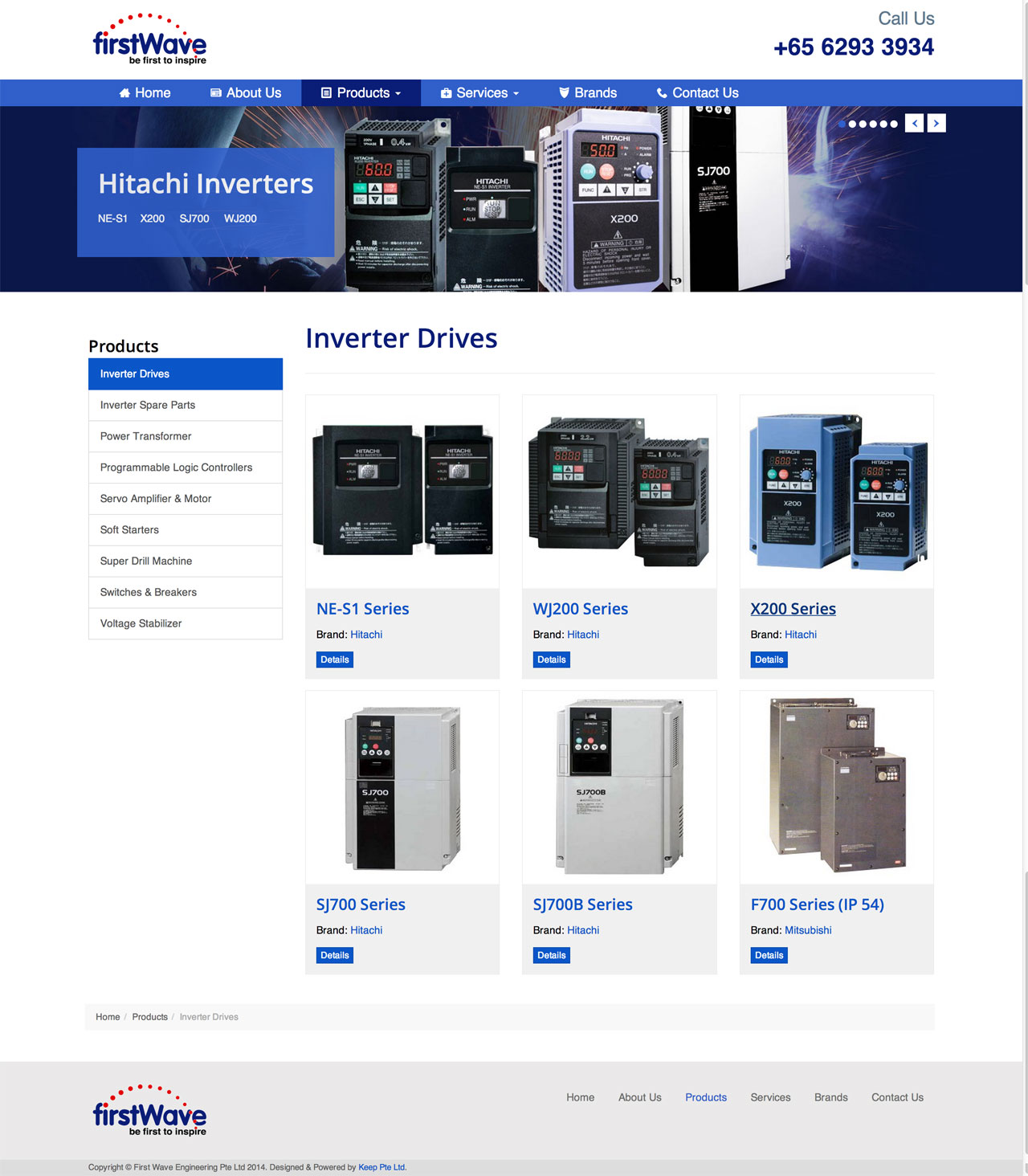 First Wave Engineering Pte. Ltd. website products page