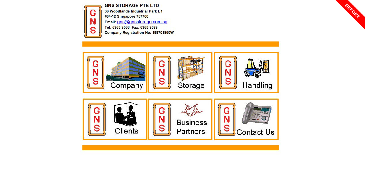 GNS Storage Pte Ltd old website homepage
