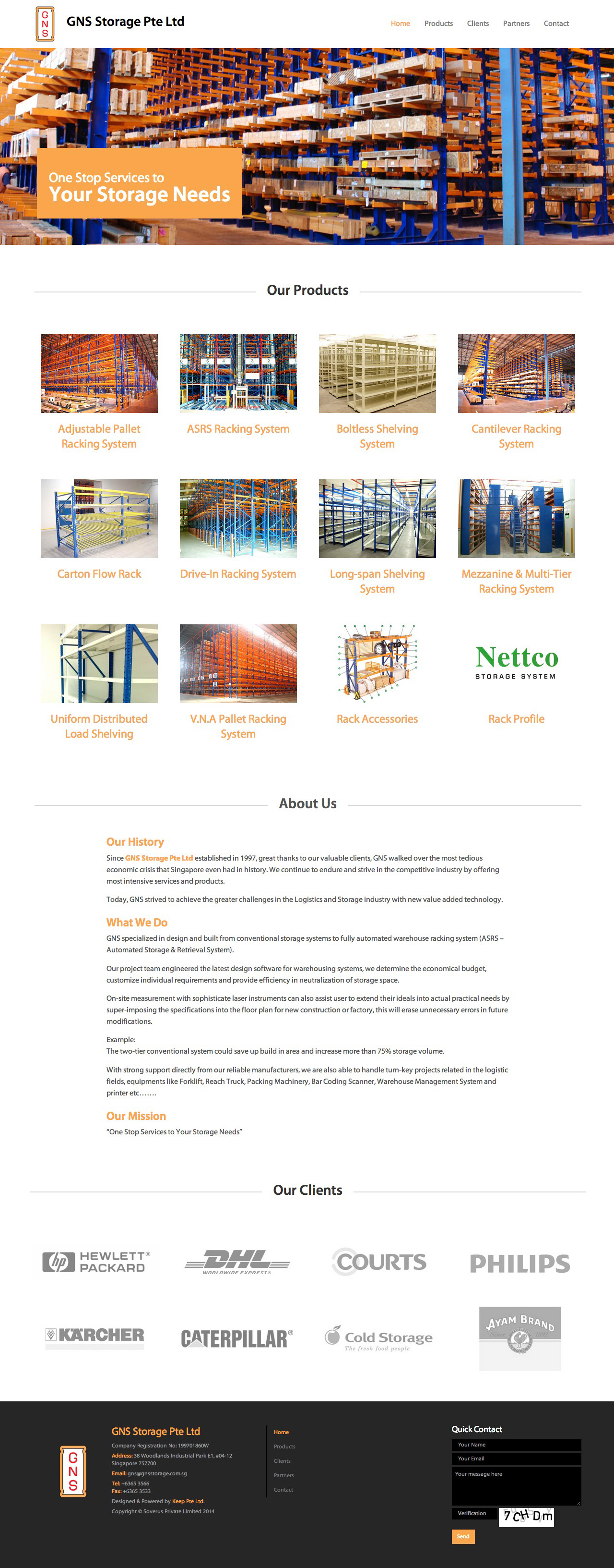 GNS Storage Pte Ltd website home page