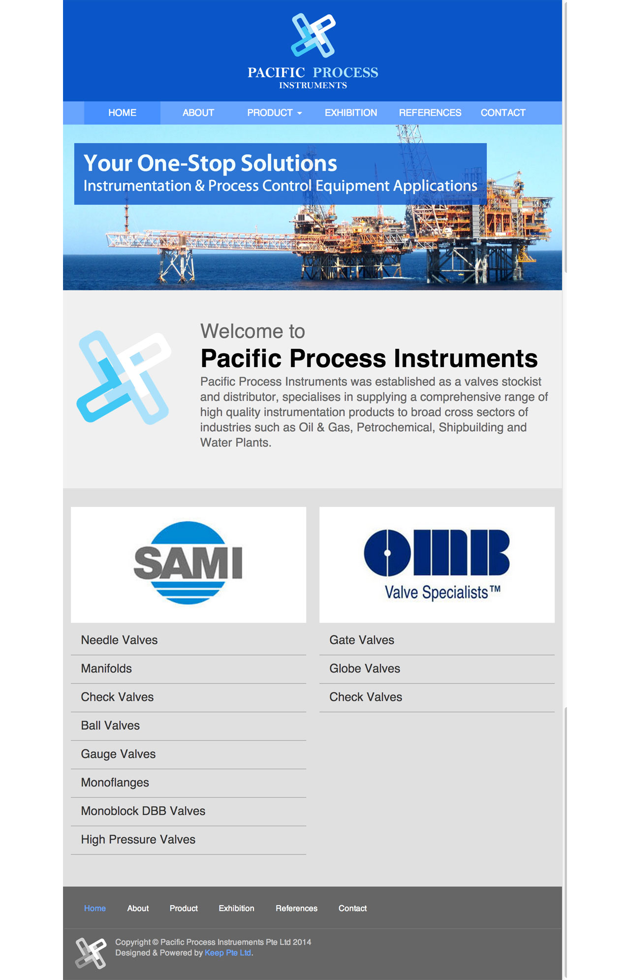 Pacific Process Instruments Pte. Ltd. website homepage on tablet