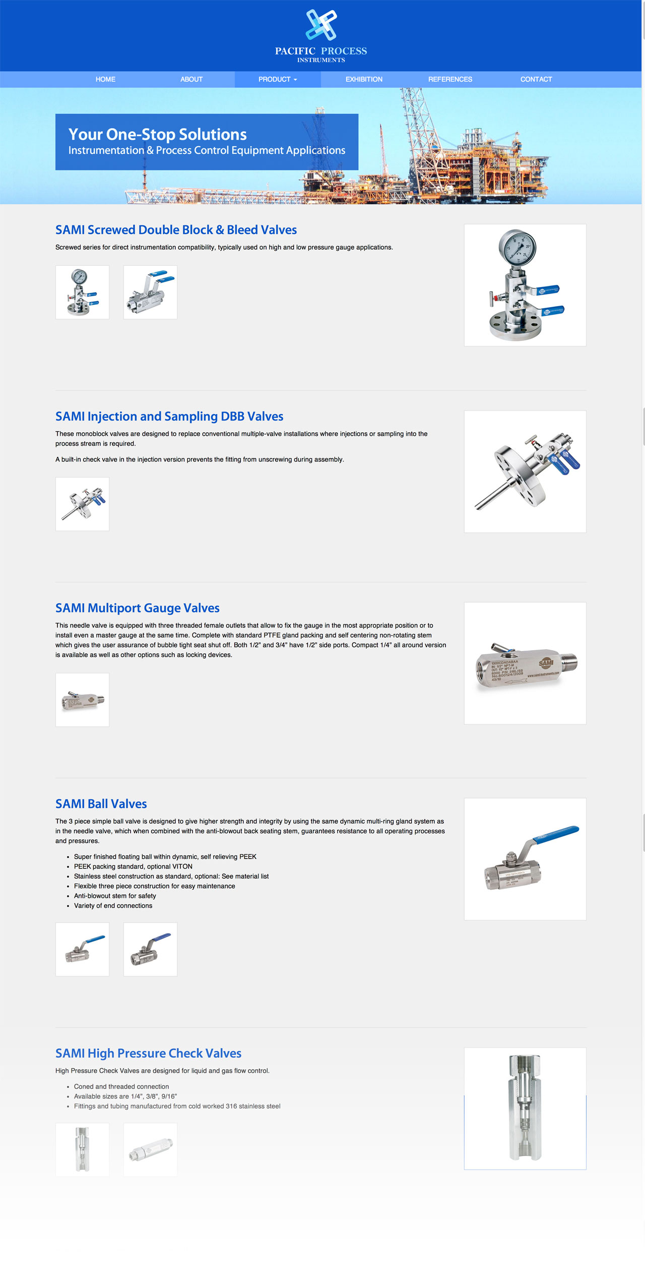 Pacific Process Instruments Pte. Ltd. website products page
