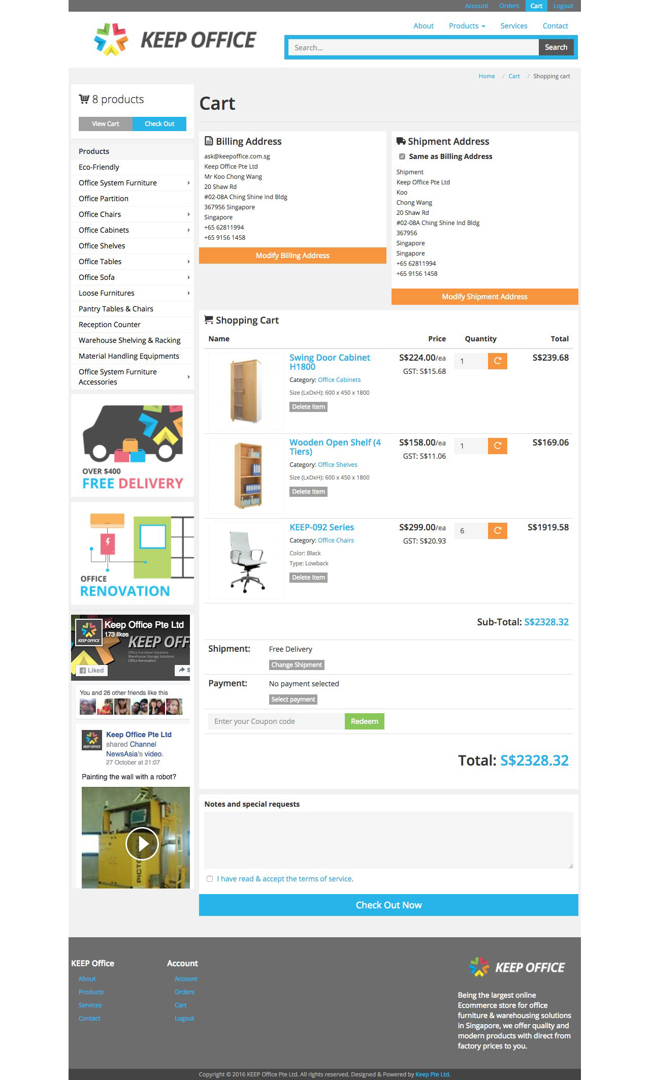 KEEP Office Pte Ltd website shoppint cart page