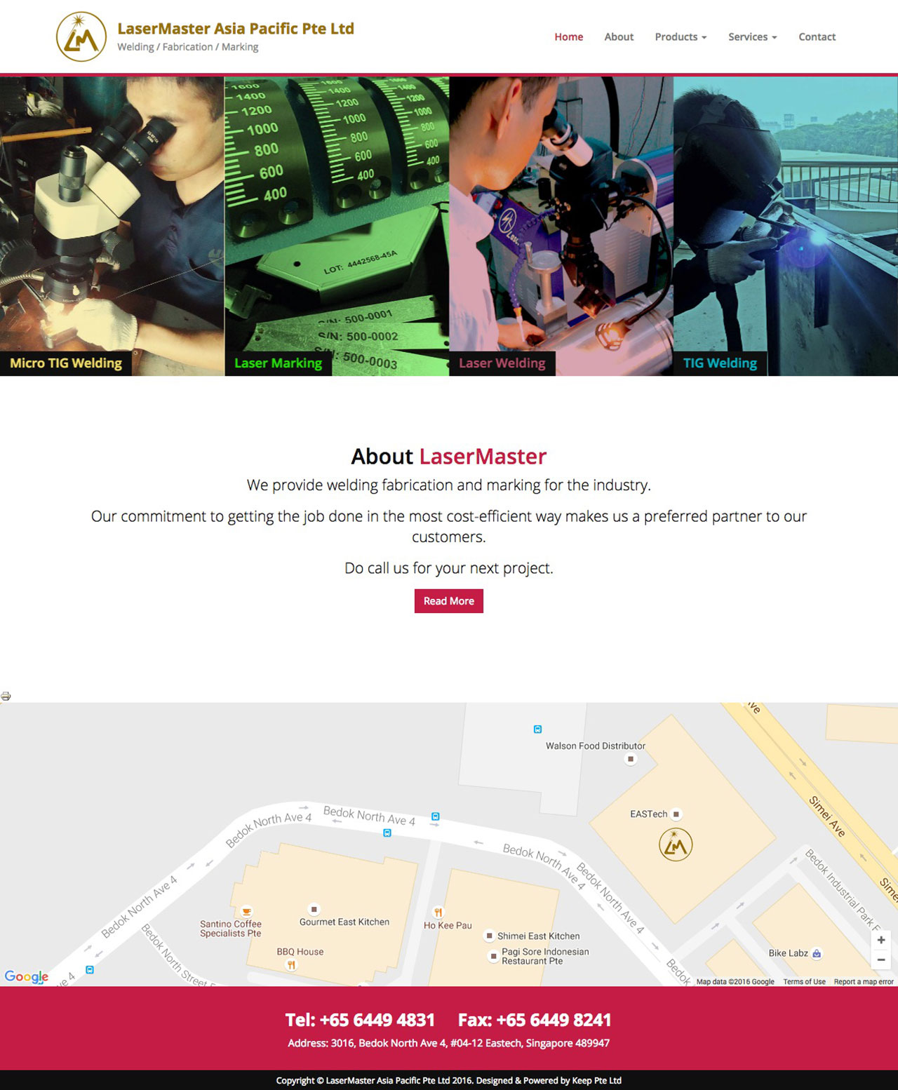 Lasermaster website homepage on screen