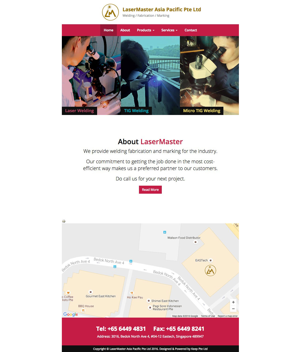 Lasermaster website homepage on tablet